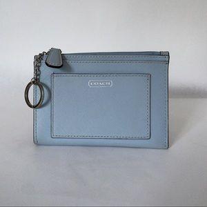 Coach Lt Blue Darcy Skinny Medium Saffiano Wallet